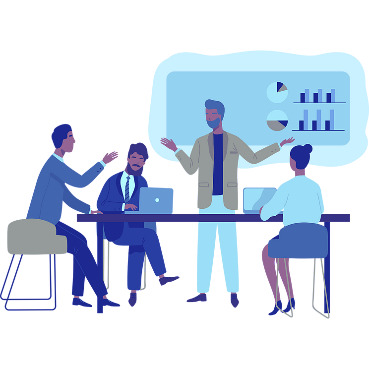 Illustration of a presentation during a meeting