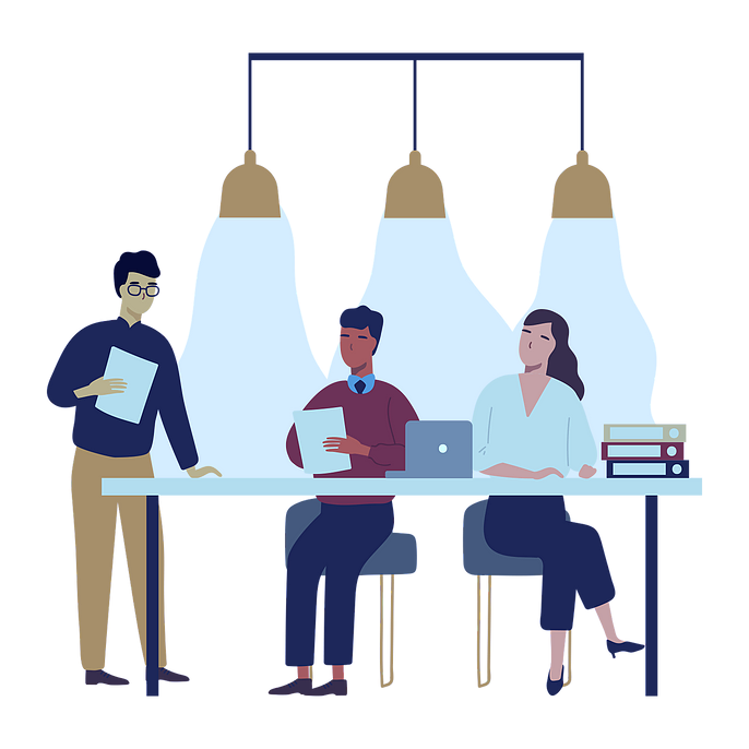 Illustration of people having a meeting at a table