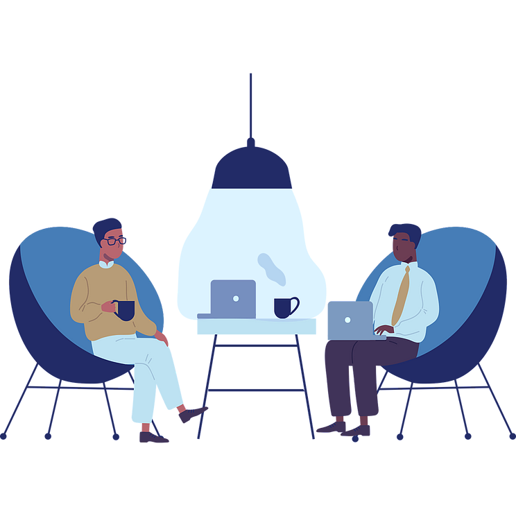 Illustration of two people having coffee with laptops