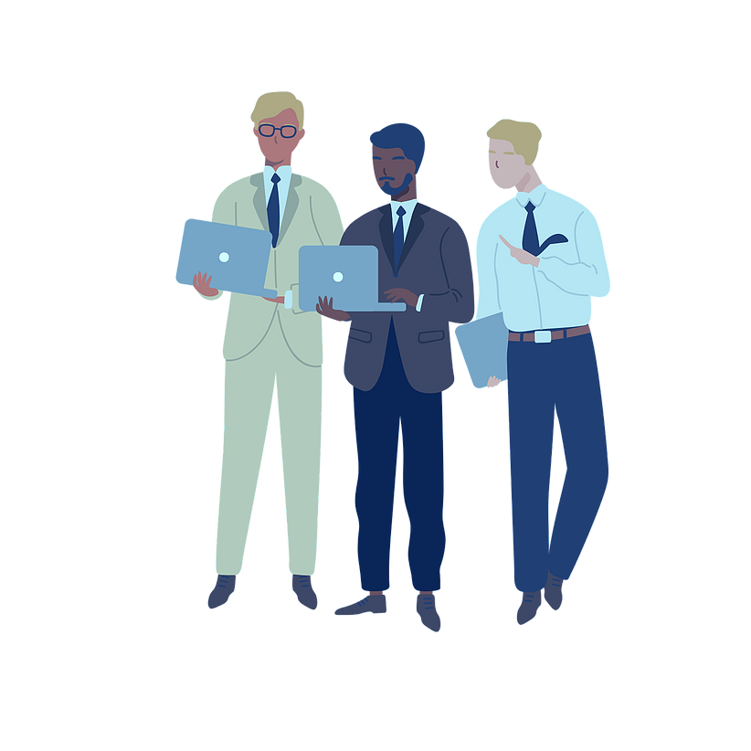 Illustration of three men with laptops in suits